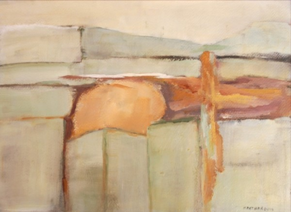 Ann Hart Marquis-New Mexico Winter #4-acrylic painting on paper