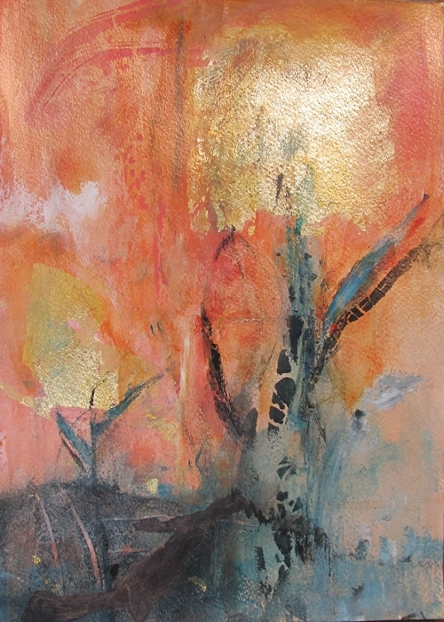 Ann Hart Marquis-Abstract 3-gold leaf