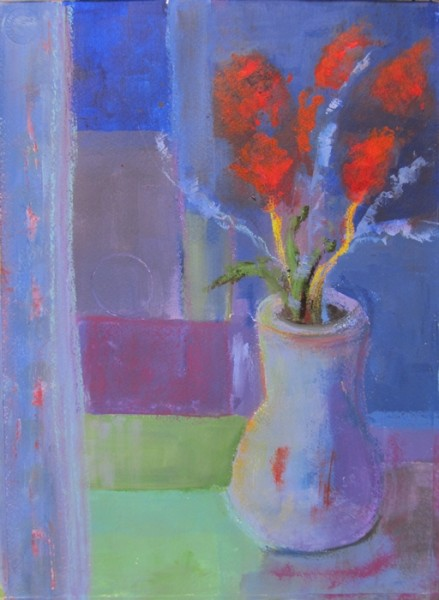 Ann Hart Marquis-Blue Vase-painting style
