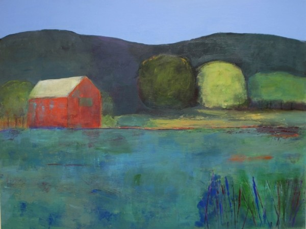 Ann Hart Marquis--Evening at Chalk Hill-evening painting showing a dark sky and water reflected by light