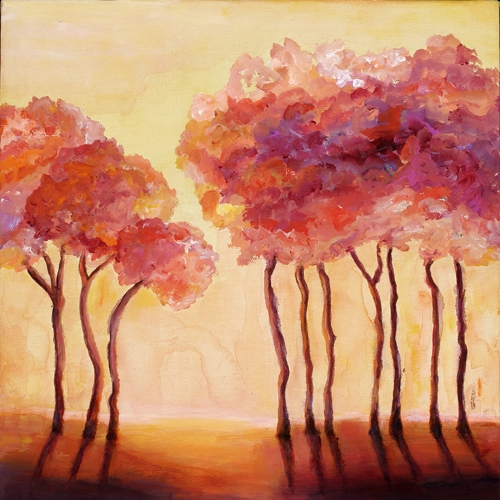 Sunset, 12x12, acrtlic on canvas, ©2011, Ann Hart Marquis, SOLD