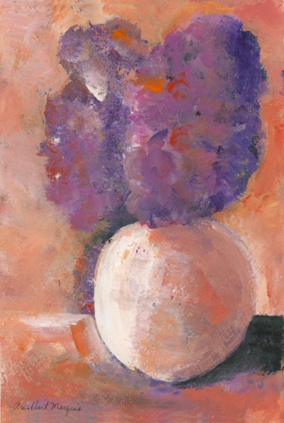 Purple Flowers, Orange Vase
