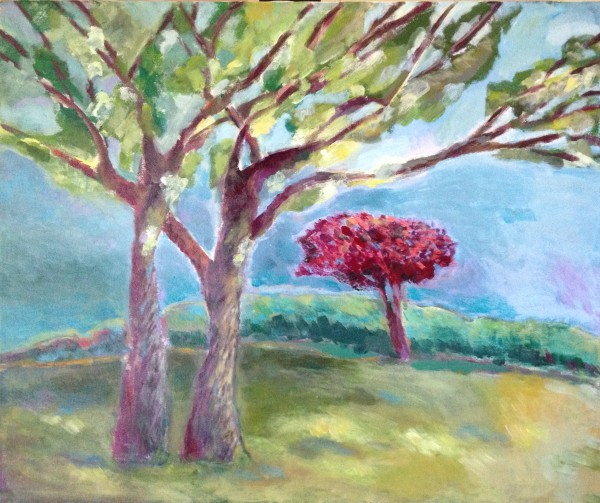 Red Tree in Summer-Sylvia-Lippmann, completed