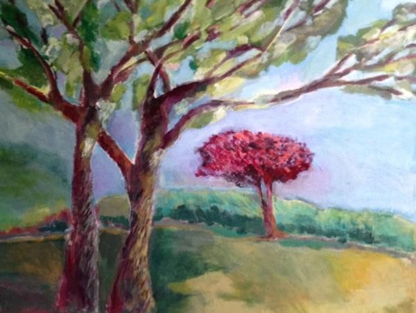SylviaLippmann-Red Tree in Summer