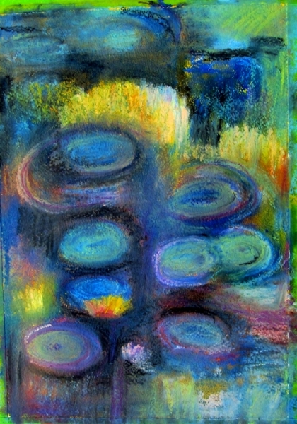 Ann Hart Marquis-Water Lily Pond, oil pastel