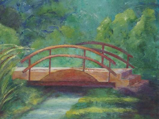 Ann Hart Marquis-Red Bridge-acrylic