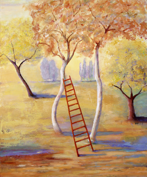 a painting showing a ladders leaning on a tree.