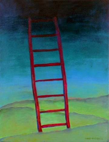 painting depicting a ladders at night.