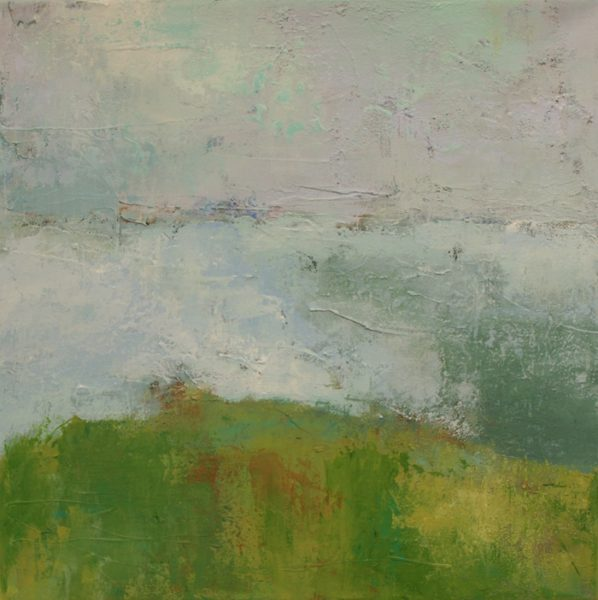 """alt=""""Ann Hart Marquis-paining of a seascape and and abstract landscape painting"""""""