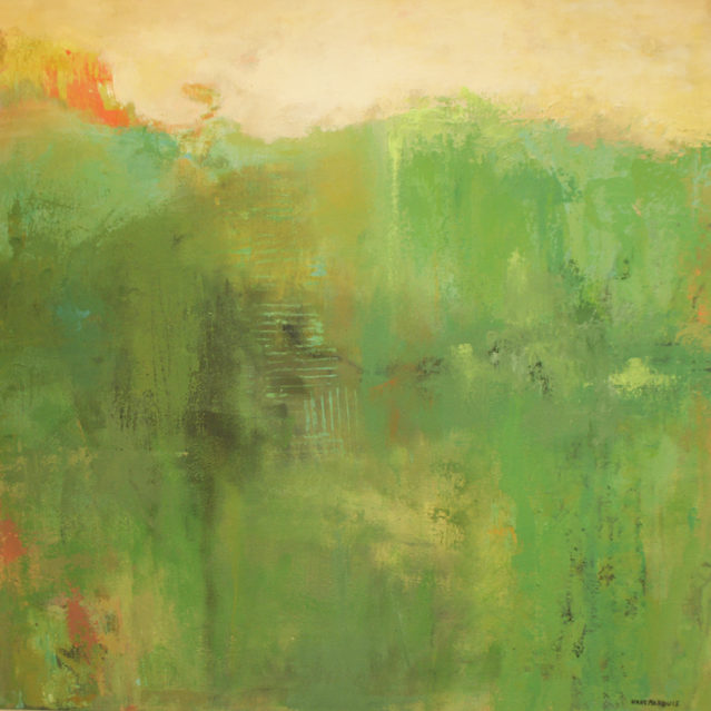 Abstract landscape painting by Ann Hart Marquis showing tones of green.