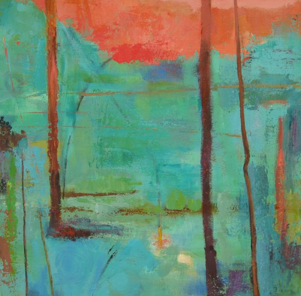 This painting is an abstract landscape image of a forest.