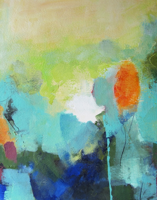 Painting of abstract landscape on paper